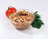 Bean Relish in a Bowl;Fresh Parsley and Tomato