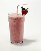 Strawberry Milkshake with a Straw and Strawberry