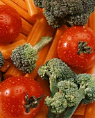 Fresh Tomatoes and Broccoli on Carrot Sticks