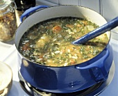 Kale Orzo and Sausage Soup in a Pot