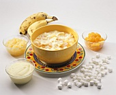 Ambrosia (Tropical Fruit Salad) with Ingredients