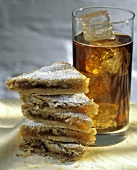 Apricot Shortbread Stacked with a Glass of Ice Tea