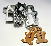 Two Gingerbread Men Cookies; Cookie Cutters