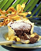 A Chocolate Souffle in Phyllo Dough with Fruit