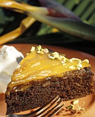 A Slice of Chocolate Cake with Mango Glaze
