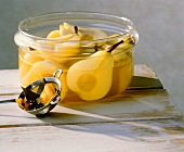 Spiced Pears in a Glass Bowl