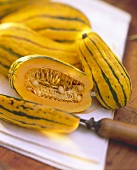 Still Life of Delicata Squash; One Cut in Half