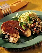 Soy Glazed Salmon Steak with Vegetables and Pasta