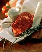 Rib Eye Steak with Twine and Rosemary