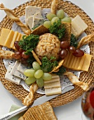 Appetizer Platter; Assorted Cheese Crackers and Grapes