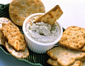 Assorted Crackers with Dip; Cracker in Dip