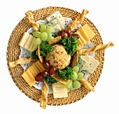 Appetizer Platter with Cheese and Crackers; Grapes