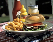 Cheeseburger and French Fries on a Plate; Condiments