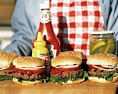 Hamburgers Outdoors on a Sunny Day; Condiments