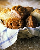 Pecan Cinnamon Rolls in a Basket