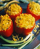 Red Bell Peppers Stuffed with Saffron Rice