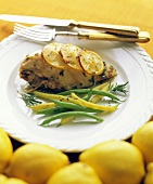 Lemon Rosemary Chicken; Green and Wax Beans