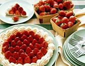 Strawberry Meringue Tart with Fresh Strawberries