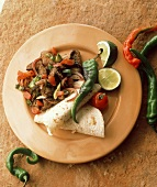 Beef fajitas with chillies