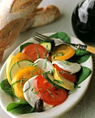 Caprese con la zucchina (Tomatoes, mozzarella and courgettes)