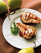 Roasted Pears with Goat Cheese and Berry Sauce