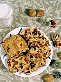 Partially Sliced Bread with Nuts Fig and Cranberries