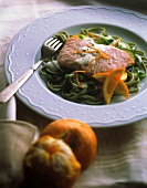 Poached Salmon on Spinach Fettucine