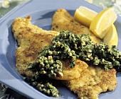 Fish with lemon Caper Sauce; Lemon Wedges