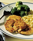 Crab Cakes with Pasta and Broccoli