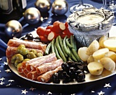 Appetizer Platter; Vegetables and Cold Cuts with Dip