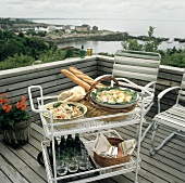 Summer Salad Picnic on a Cart; Deck