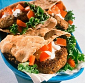 Falafel Burger in Pita with Tomatoes; Yogurt