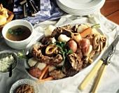 Pot au Feu; Boiled Meats and Vegetables on a Platter