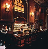 Interior of Restaurant Bar; Bartender