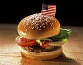 Hamburger with an American Flag in the Bun