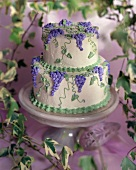 Wedding Cake with Purple Grape Decoration (styled by Lisa Homa)