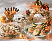 Many Assorted Christmas Cookies on Platters