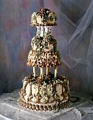 Beautifully Decorated Four Teir Wedding Cake
