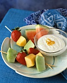 Assorted Fruit on Wood Skewers with Dips