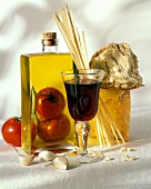 Still Life of Italian Ingredients and a Glass of Red Wine