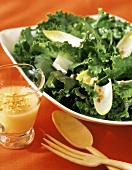 Romaine Lettuce Salad with a Small Pitcher of Dressing