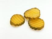 Three Crinkle Cut Pickles