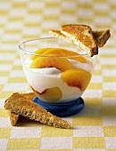 Yogurt with Peach Slices and Toast