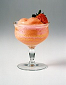 Sherbet Ice in a Stem Glass with a Strawberry