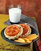 Rice Cakes with Tomato Slices and Carrot Sticks