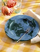 Planet Earth Plate with Fork