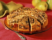 Pear Coffee Cake Sliced on a Cake Plate