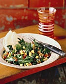 Arugula Salad with Corn Tomato and Raisin