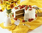 Spice Cake with Vanilla Frosting and Raspberries