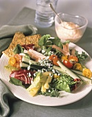 Salad with Raw Vegetables Cheese and Ham